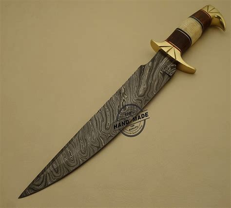 Handmade Bowie Knife - beautiful damascus bowie knife custom handmade damascus steel