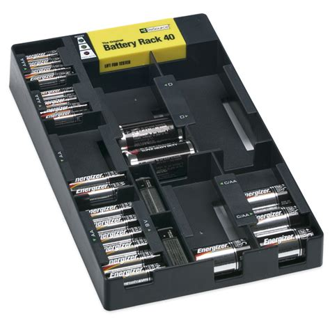 Batteries Shelf by Battery Rack Organizer With Tester The Container Store
