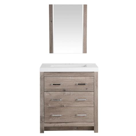 Glacier Bay Woodbrook 30 1/2 in. W Bath Vanity in White Washed Oak with Cultured Marble Vanity