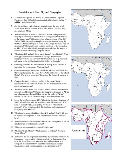 africa physical map 7th grade worksheet physical geography worksheets mifirental free