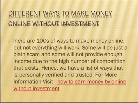 Make Real Money Online Without Investment - different ways to make money online without investment
