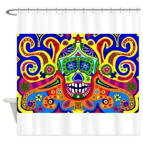 day of the dead curtains day of the dead 1 shower curtain by davesdesign