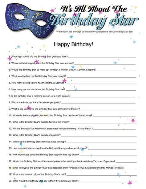 printable games for sweet 16 party printable it s all about the birthday star funsational