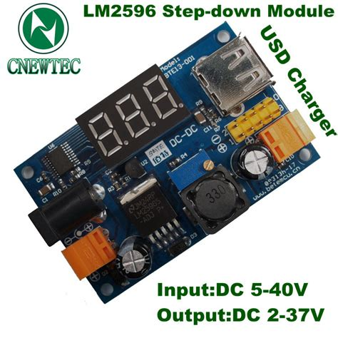Lm2596 Adjustable Step Power Module Led Voltmeter 1 new lm2596 dc 4 5 40 to 1 25 37v adjustable step power module led voltmeter usb port 2