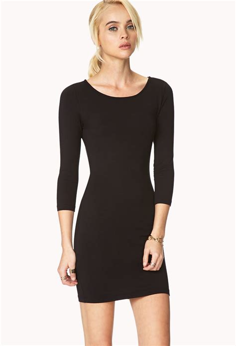 Dress Forever21 Black forever 21 basic knit dress in black lyst