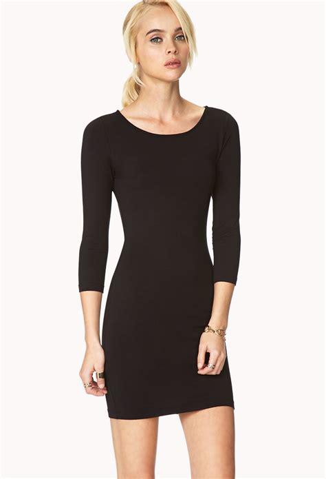 knit black dress forever 21 basic knit dress in black lyst