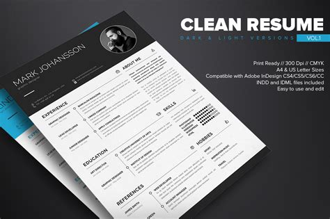 Clean Resume Template Free by Clean Resume Template Free On Behance