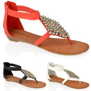 womens summer shoes womens flat zip ankle toe post summer