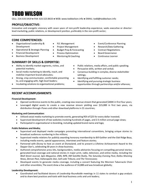 Sle Resume Executive Director Non Profit non profit program director resume sle 28 images sle