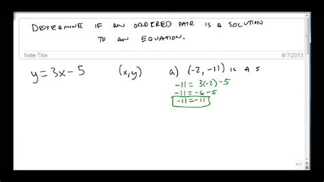 If Not For The determine whether an ordered pair is a solution to an