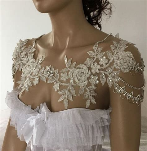 bridal dress shoulder necklace rhinestone lace shoulder