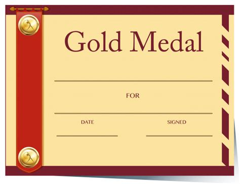 gold medal certificate template amazing gold medal certificate template gallery exle