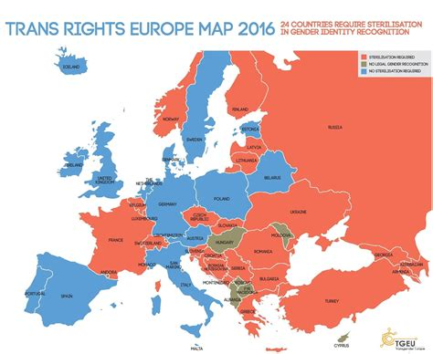 map of all the countries in europe this is what transgender rights in europe looks like