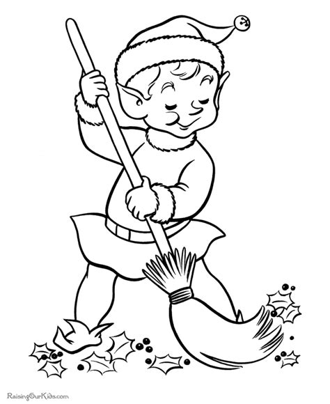 printable elf coloring picture christmas elf coloring pages