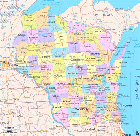 map of wisconsin counties map of wisconsin cities road map counties wisconsin state map map of usa states