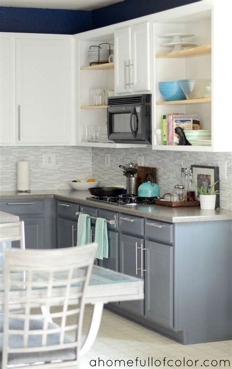 painted  tone kitchen cabinets white uppers  gray