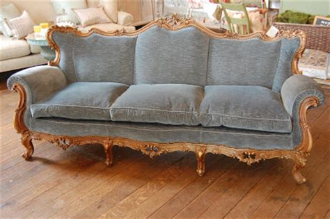 couche in french urban farmhouse beautiful faded blue velvet french style