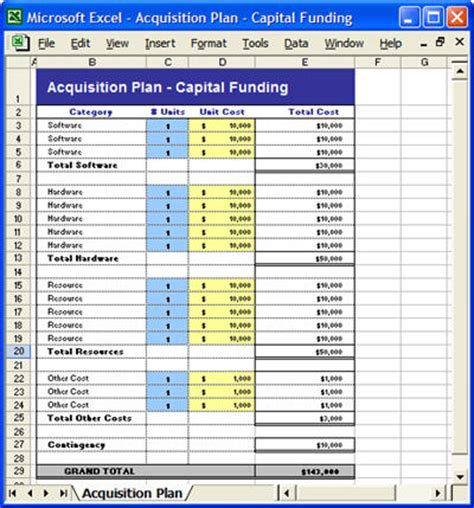 Acquisition Plan Template Ms Word Excel Funding Schedule Template