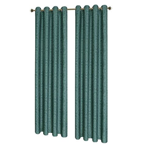 Teal Grommet Curtains Window Elements Mirabel Jacquard Teal Grommet Wide Curtain Panel 54 In W X 84 L