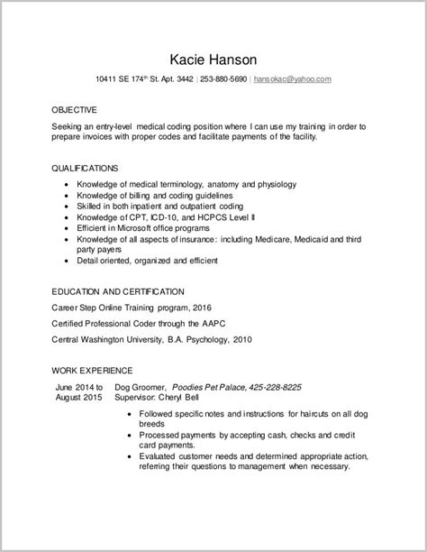 entry level billing and coding resume sles billing and coding resume entry level resume
