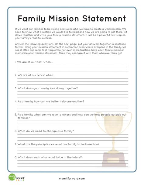 family therapy activities strengthening family creating a family mission statement
