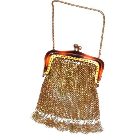Lace Trim Coin Purse vintage gold tone mesh coin purse with a faux tortoise