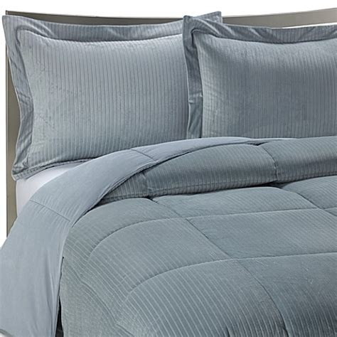 slate blue bedding luxe stripe reversible down alternative bedding set in slate blue bed bath beyond