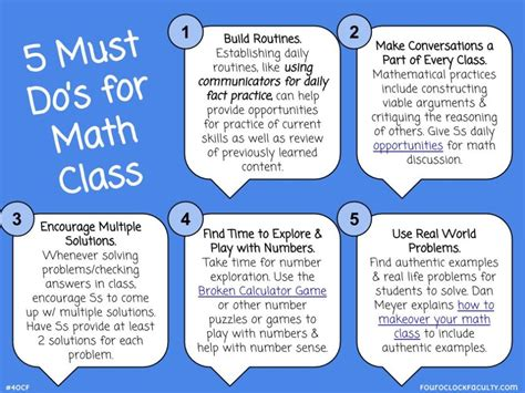 5 Must Dos by 5 Must Do S For Math Class 4 O Clock Faculty