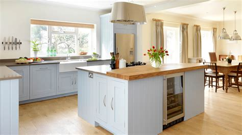 shaker kitchen designs blue painted shaker kitchen from harvey jones