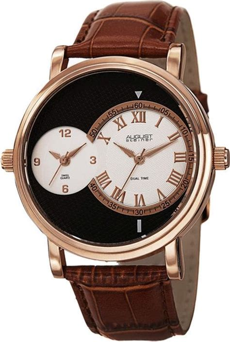 Swiss Army Ba702 Dualtime Brown Leather august steiner as8146rg swiss quartz dual time brown
