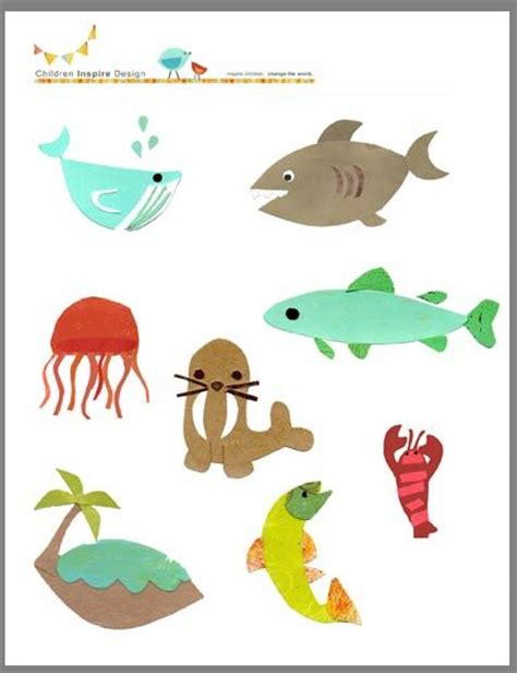 printable ocean animal cutouts kids collage collage art and collage on pinterest