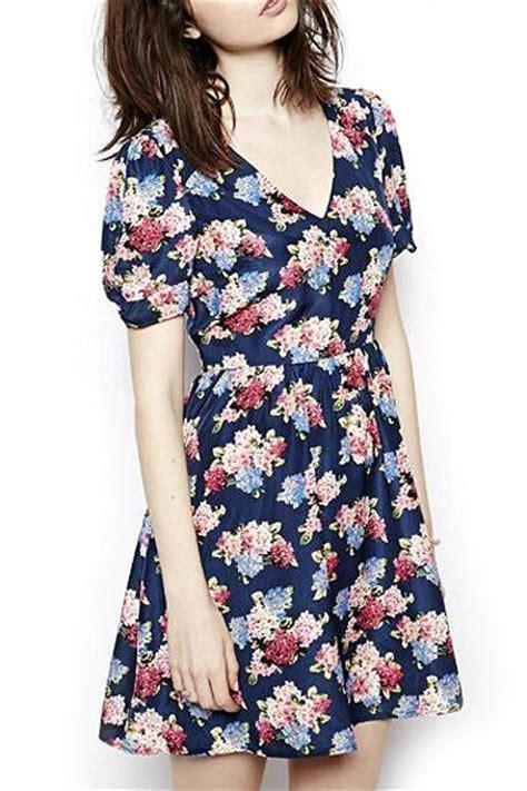 Floral V Neck Skater Dress floral print navy v neck sleeve skater dress