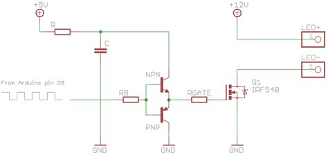 transistor as mosfet driver starlight dimming a 12v led with a mosfet and pwm