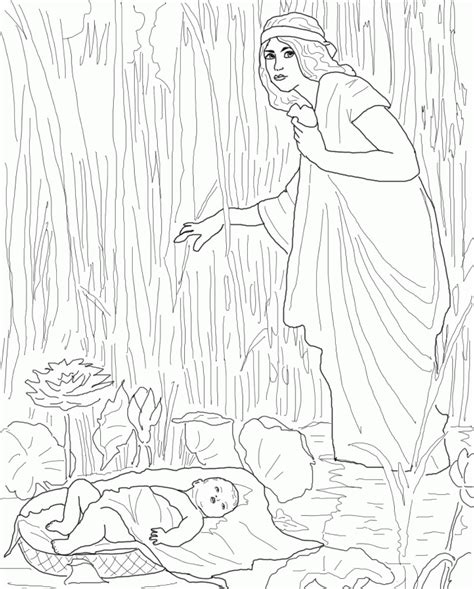coloring pages of baby moses and miriam baby moses found by pharaohs daughter in the reeds bible