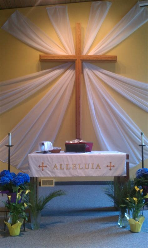 easter sunday service decorations easter with sheer curtains church art pinterest