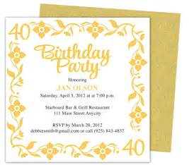 Birthday Invitation Templates Free Word by 40th Birthday Invitations Free Templates