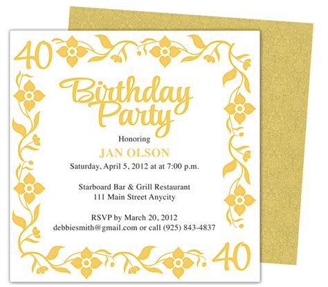 birthday invitations templates free for word 40th birthday invitations free templates