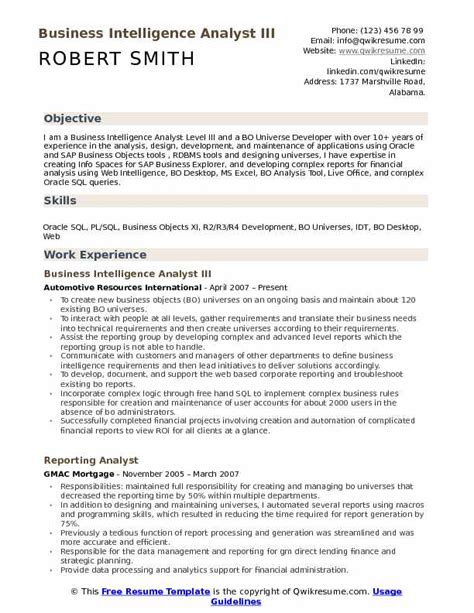 Business Intelligence Analyst Resume by Business Intelligence Analyst Resume Sles Qwikresume