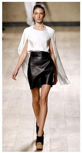 fashion white shirt leather skirt