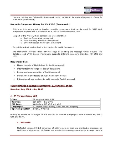 Websphere Message Broker Sle Resume by Raveendra Resume Doc