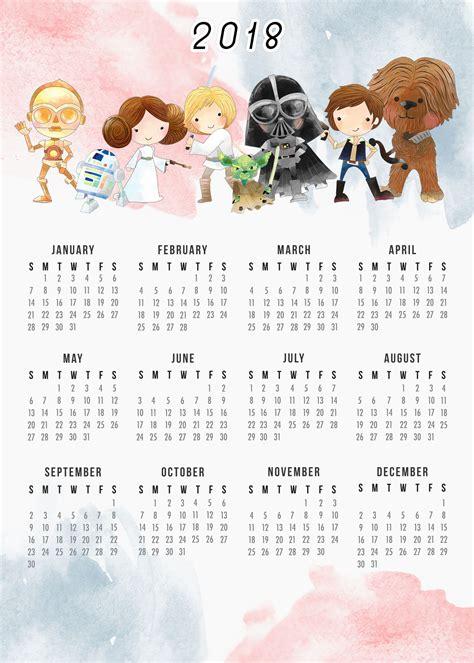 printable calendar 2018 fun free printable 2018 star wars calendar one page