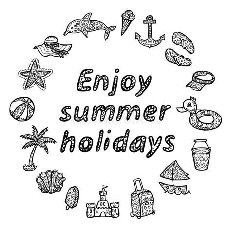 Enjoy Summer Black enjoy summer holidays icons set stock illustration