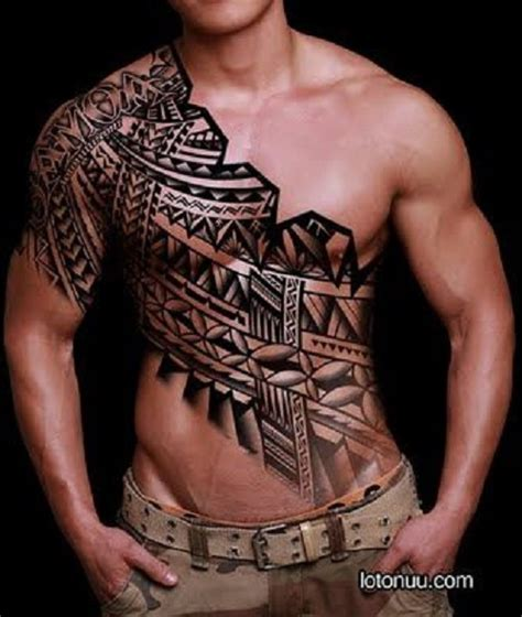 tribal tattoo on chest and shoulder 45 tribal chest tattoos for