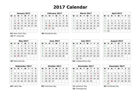 2017 Calendar With Holidays Printable Federal Holidays 2017 Calendar With Holidays Calendar