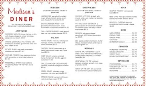 Diner Placemat Menu Long Diner Menu Placemat Menu Templates