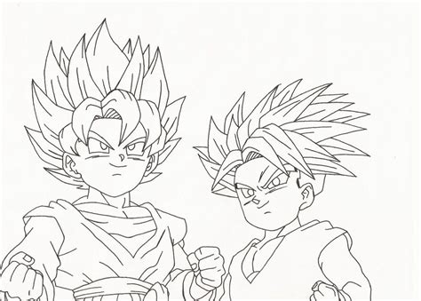 gohan goten and trunks pages coloring pages