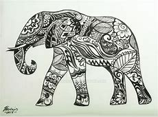 Drawn elephant henna - Pencil and in color drawn elephant ... Indian Elephant Henna Drawing