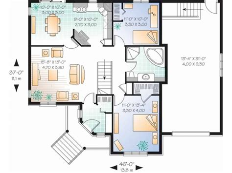 One Level House Plans by 2 Bedroom Single Story House Plans Lots Blueprints 3