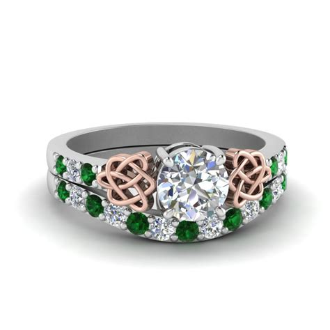 celtic round cut diamond wedding ring set with emerald in