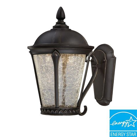 Outdoor Led Lantern Lights Hton Bay Cottrell Collection Aged Bronze Outdoor Led Powered Wall Mount Lantern Hb7051p 246